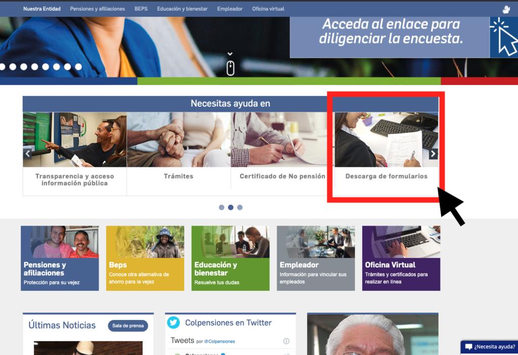 Descargar formularios desde www.colpensiones.gov.co Paso 2